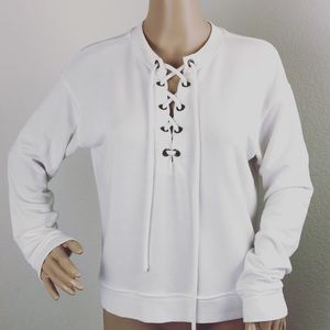 Jolie white lace up long sleeve sweater